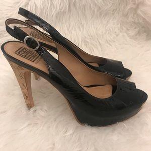 Pour la Victoire Black Patent Leather Slingback 9